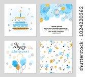 happy birthday cards set in... | Shutterstock .eps vector #1024220362