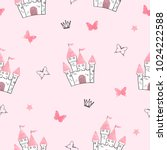 seamless princess pattern with... | Shutterstock .eps vector #1024222588