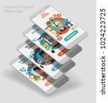 flat design responsive ui... | Shutterstock .eps vector #1024223725