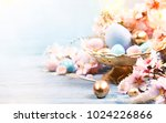 easter background with easter... | Shutterstock . vector #1024226866