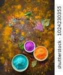 traditional indian holi colours ... | Shutterstock . vector #1024230355