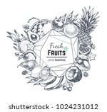 big set hand drawn fruit.... | Shutterstock .eps vector #1024231012