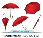 set of vector red umbrellas | Shutterstock .eps vector #102423112