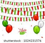 colorful flags of italy with... | Shutterstock .eps vector #1024231576