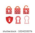 collection of padlock firewall... | Shutterstock .eps vector #1024233376