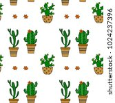 cactus seamless vector pattern. ... | Shutterstock .eps vector #1024237396