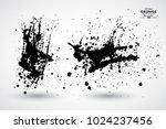 set of black splash on white...   Shutterstock .eps vector #1024237456