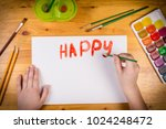 kids hand writing a greetings... | Shutterstock . vector #1024248472