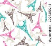 eiffel tower seamless pattern.... | Shutterstock .eps vector #1024250248