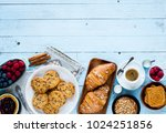 top view of a wood table full... | Shutterstock . vector #1024251856