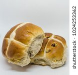 Small photo of Two delecious hot cross buns home made although slightly squashed but ready for Easter