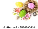 colorful easter eggs and spring ... | Shutterstock . vector #1024260466