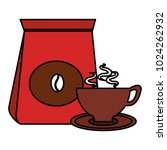 coffee bag with cup | Shutterstock .eps vector #1024262932