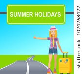 hitchhiking tourist young girl... | Shutterstock .eps vector #1024268422