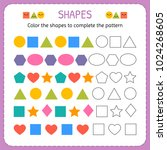 color the shapes to complete... | Shutterstock .eps vector #1024268605