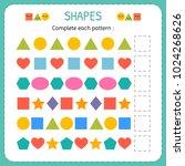 complete each pattern. learn... | Shutterstock .eps vector #1024268626