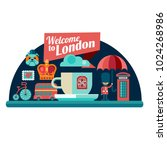 welcome to london vector badge... | Shutterstock .eps vector #1024268986