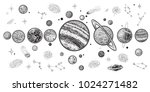 planets and space hand drawn... | Shutterstock .eps vector #1024271482
