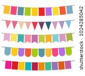 colorful flags and bunting... | Shutterstock .eps vector #1024285042