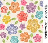 Stock vector vector seamless pattern with flowers of doodles made using stencil floral colorful background in 102429142