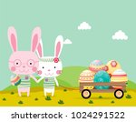 happy easter greeting card... | Shutterstock .eps vector #1024291522