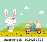 happy easter greeting card... | Shutterstock .eps vector #1024291525