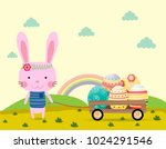 happy easter greeting card... | Shutterstock .eps vector #1024291546