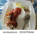nasi lemak is a malay fragrant... | Shutterstock . vector #1024293646