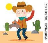 cute cartoon cowboy male...   Shutterstock .eps vector #1024311412