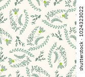 seamless pattern twigs with... | Shutterstock .eps vector #1024323022