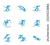 winter sports icons set vector | Shutterstock .eps vector #1024323886