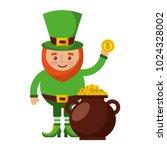cartoon leprechaun holding gold ... | Shutterstock .eps vector #1024328002