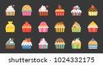 set of fancy cup cake  flat... | Shutterstock .eps vector #1024332175