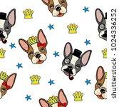 french bulldog seamless pattern.... | Shutterstock .eps vector #1024336252