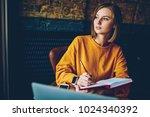 thoughtful businesswoman... | Shutterstock . vector #1024340392