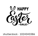 Stock vector happy easter sale text isolated on background hand drawn lettering easter as easter logo badge 1024343386