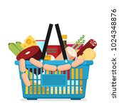 shopping basket with fresh food ... | Shutterstock .eps vector #1024348876