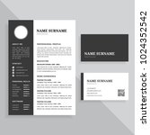 professional resume cv and... | Shutterstock .eps vector #1024352542