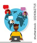afroamerican man working laptop ... | Shutterstock .eps vector #1024362715