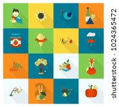 set of flat autumn icons.... | Shutterstock .eps vector #1024365472