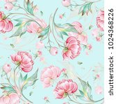 seamless peony pattern with... | Shutterstock . vector #1024368226