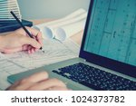 architect or engineer working... | Shutterstock . vector #1024373782