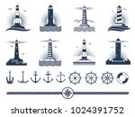 nautical logos and elements set ... | Shutterstock .eps vector #1024391752