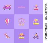 amusement park set of icons ... | Shutterstock .eps vector #1024395046