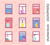 people in window frames inside... | Shutterstock .eps vector #1024395052