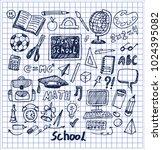 set of school stuff hand drawn... | Shutterstock .eps vector #1024395082