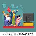 soccer fans and friends... | Shutterstock .eps vector #1024405678