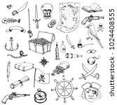vector pirates set  doodle hand ...   Shutterstock .eps vector #1024408555