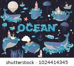 colorful poster with sea... | Shutterstock .eps vector #1024414345