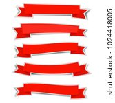 red ribbon banners sticker with ... | Shutterstock .eps vector #1024418005